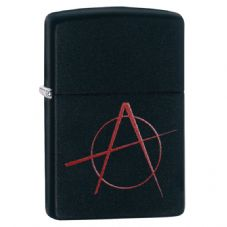 Black Matte Anarchy Symbol Zippo Lighter